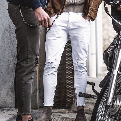 Fashion solid colour attrited long mens pants