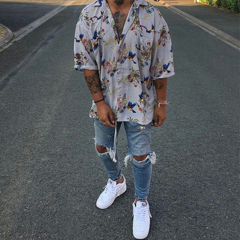 Men's Street Style Vintage Printing Loose Short Sleeve Shirt