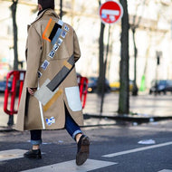 Fashionable handsome street coat in long coat