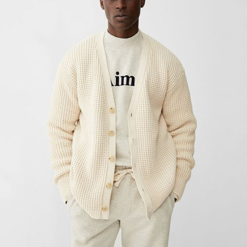 Men's Fashion Waffle V-neck Single Row Button Long Sleeve Knit Sweater