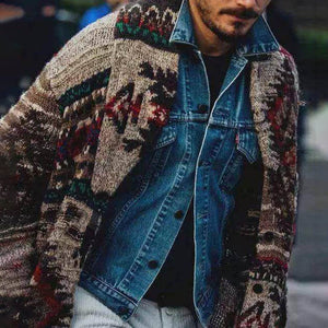 Fashion men's ethnic print sweater