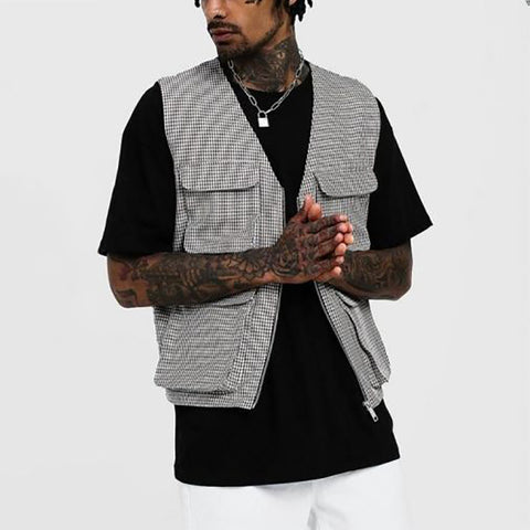 Men's Fashion V-neck Slim Multi-Pocket Vest