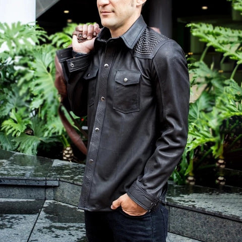 Modern Long Sleeve Single-breasted Leather Rivet Jacket