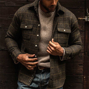 Mens classic casual check shirt jacket