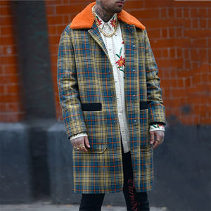 Men's Fashion Check Color Coat