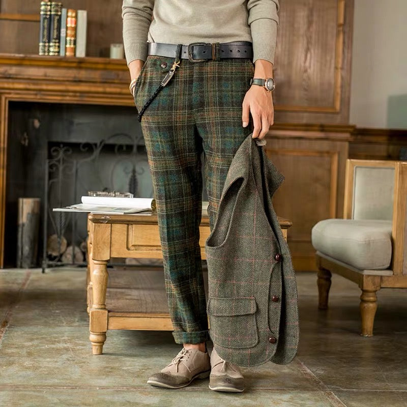 Mens Casual Classic Plaid Slim Trousers