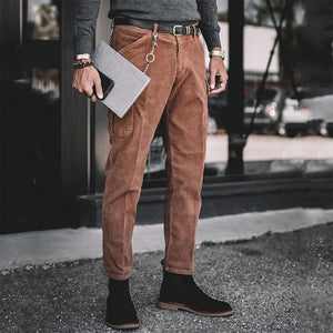 Men's casual solid color trousers