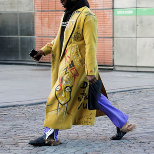 Men's Fashion Graffiti Design Long Split Split Overcoat