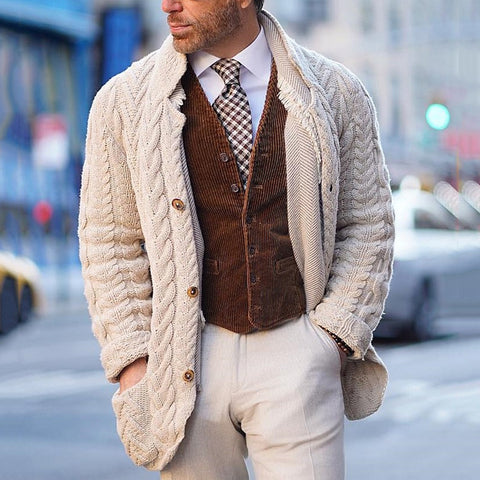 Men's Classic Casual Solid Color Buttoned Knit Cardigan