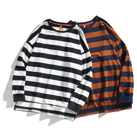 Casual Round Neck Stripe Loose Long Sleeve T-Shirt