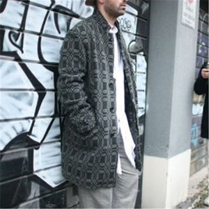 Men's Fashion Vintage Print Loose Coat