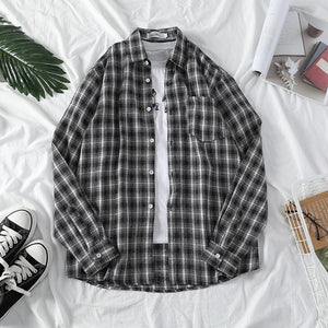Men's Commuting Check Single-breasted Long Sleeve Shirt