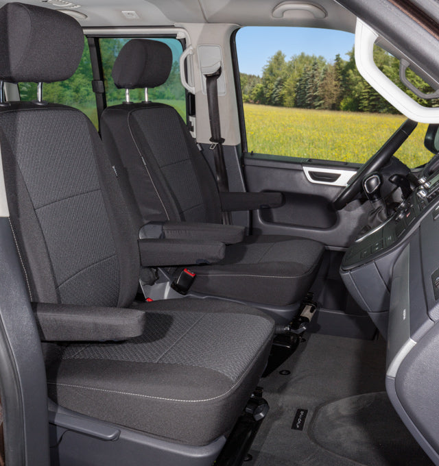 "BRANDRUP Second Skin for 2 cabin seats VW T5 Multivan Comfortline as from end of 2013 with headrests approx. 21 cm high, design ""Kutamo/Titanium Black"""