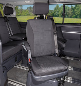 "Second Skin Protective Covers - 1 x Swivel Captain's Chair - VW T6/T5 Multivan - Design ""Kutamo"" / Titan Black"
