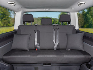 "Second Skin Protective Covers - 3-er Rear Bench Seat  - VW T6/T5 Multivan - Design ""Kutamo"" / Titan Black"
