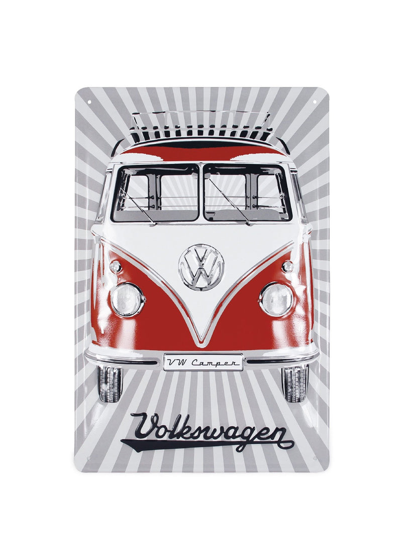 VW T1 Bus Metal Sign - Samba Stripes Red