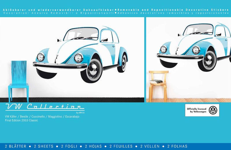 VW Beetle Wall Sticker / Tattoo - Blue