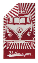 Load image into Gallery viewer, VW T1 Bus Beach Towel - Samba Stripes/Red