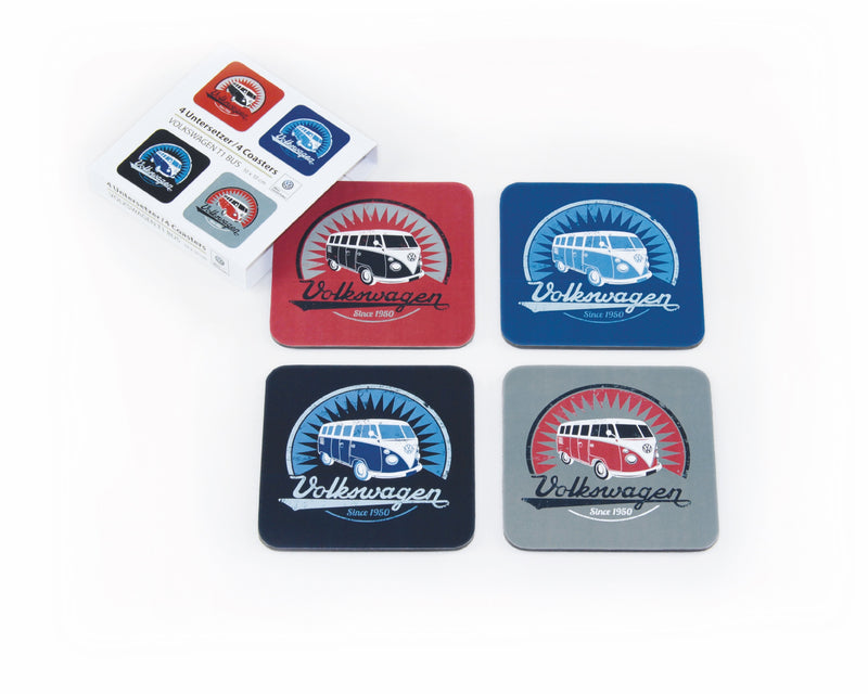 VW T1 Bus Coasters 4-PC Set in paper sleeve - Vintage Logo - 4 Colours