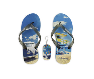 VW T1 Bus Beach Thongs / Sandals (EU 40/41) - Beachlife - Blue