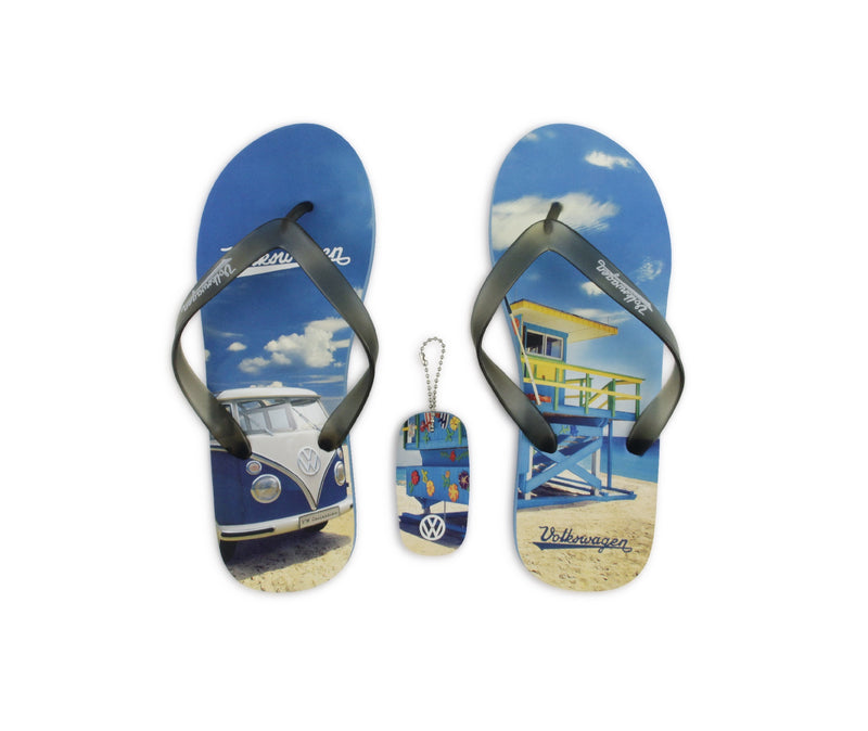 VW T1 Bus Beach Thongs / Sandals (EU 38/39) - Beachlife - Blue