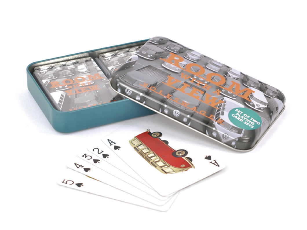 VW T1 Playing Cards In Metal Tin - A Room With A View