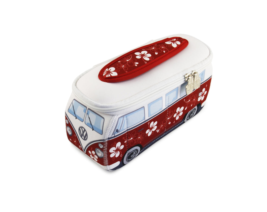 VW T1 Bus 3D Neoprene Small Universal Bag - Toiletry Bag - Red/Hibiscus