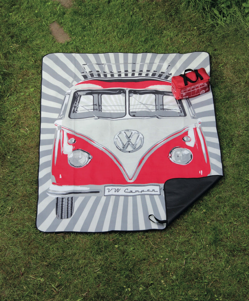 VW T1 Bus Picnic Blanket with Carrying Bag - Samba Stripes - Red