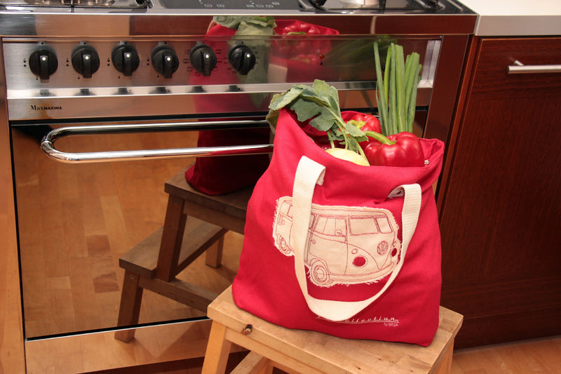 VW T1 Bus Canvas Shopping Bag / Beach Bag - Red