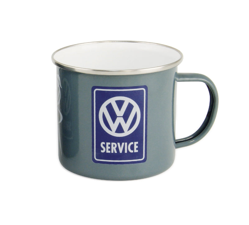 VW T1 Bus Enamel Mug 500ml in Gift Box - VW Service - Grey