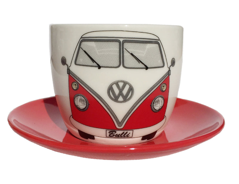 VW T1 Bus Espresso Cup 2-PC Set 100ml In Gift Box - Front/Red & Blue
