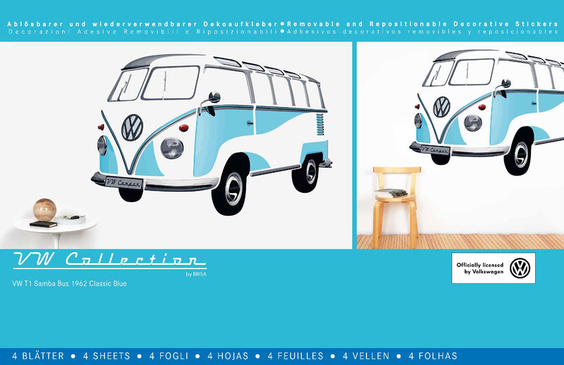 VW T1 Bus Wall Sticker / Tattoo - Classic Blue