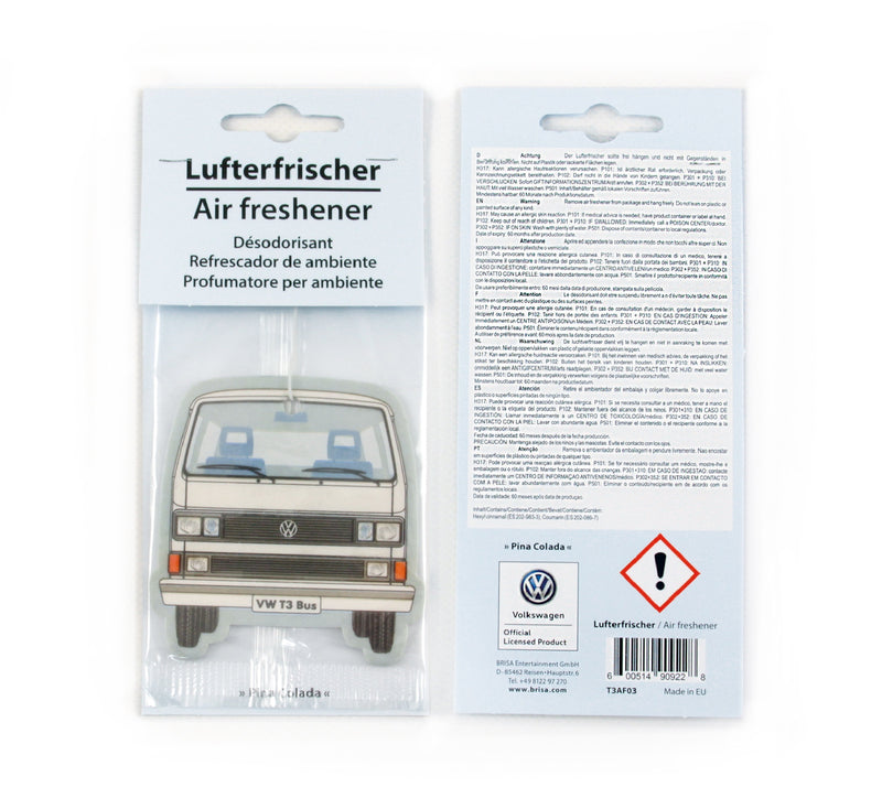 VW T3 Bus Air Freshener - PIÑA COLADA/WHITE