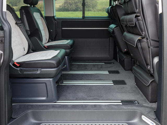 "Brandrup Velor carpet for passenger compartment, VW T6 / T5 California Beach with 3-seater bench (from 2011) and all VW T6.1 / T6 / T5 Multivan with 1 sliding door on the right (Startline from 2010), design ""titanium black"""