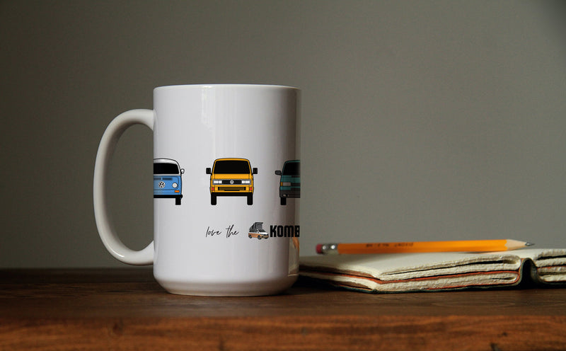 KombiLife Mug - Evolution of the Kombi Bus - Buy 2 for less