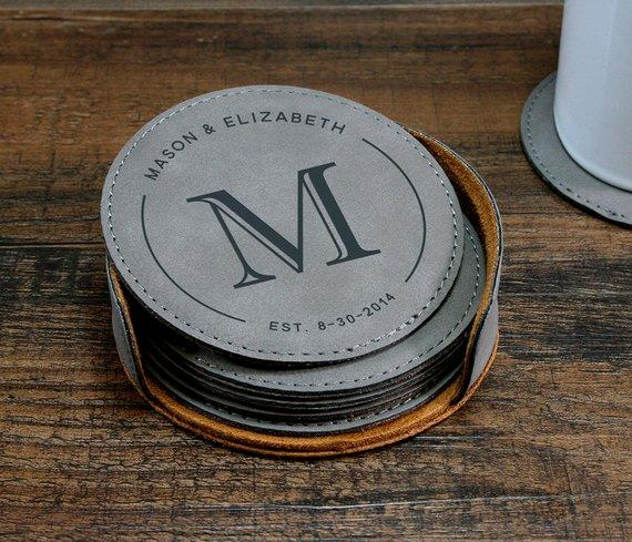 Monogrammed Leather Coaster Set, Customized Coasters, Couples Gift Idea - One Lovely Sip