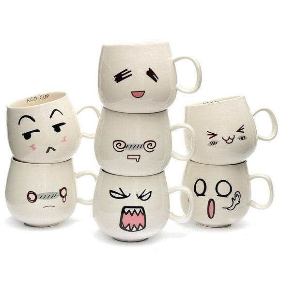 Cute Porcelain Expression Ceramic Mugs - One Lovely Sip