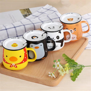 Beautiful Panda/Duck/Bear/Penguin Cartoon Office Ceramic Mugs With Lid and Spoons - One Lovely Sip