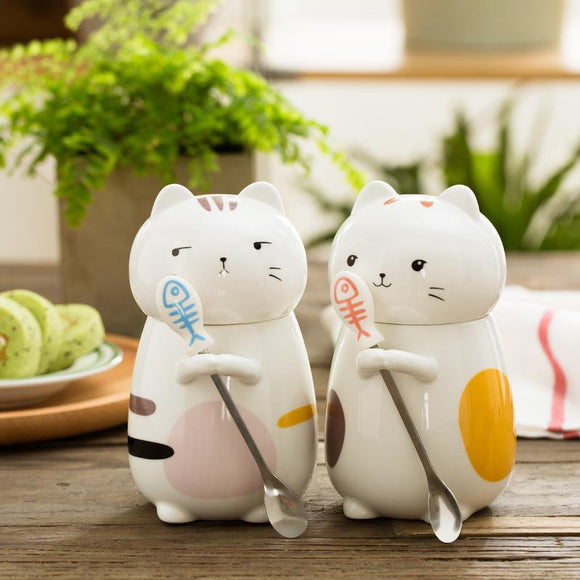 Cute 3D Ceramic Cat Mugs with Lid and spoon - One Lovely Sip
