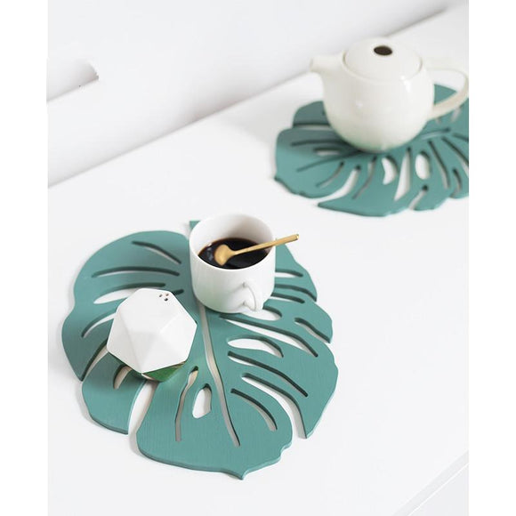 Nordic Style Wood  Creative Green Leaf Shape Coaster - One Lovely Sip