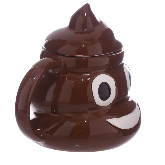 Smiley Poop Mug with Lid Funny Gag Gift - One Lovely Sip