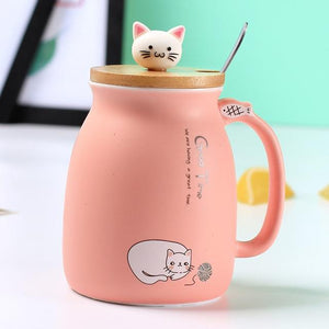 Cozy Cat Cartoon Mugs with Lid and Spoon - One Lovely Sip