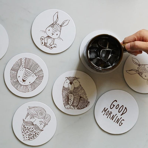 Cute Animal Design Coasters 4 pcs - One Lovely Sip