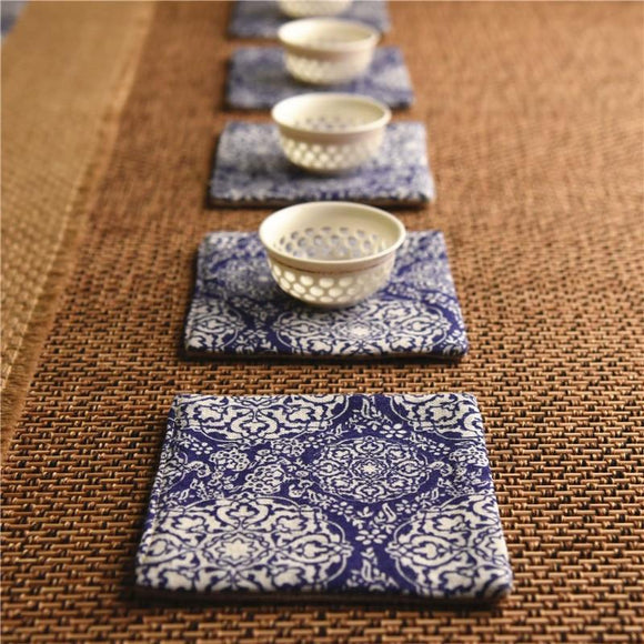 Japan Style Tea Cup Place Mat Vintage Linen - One Lovely Sip