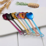 Colorful Stainless Steel Heart Shape Coffee Spoons (1 piece) - One Lovely Sip