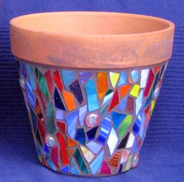 Stained Glass 1-day workshop mosaic flower pot workshop
