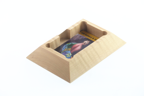 Business Card Holder Curly Maple