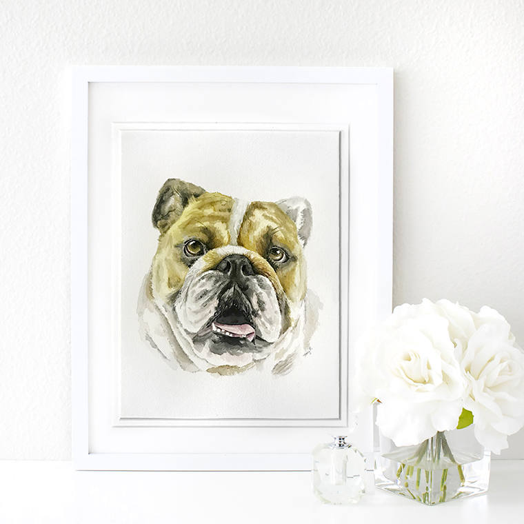 custom pet watercolor painting