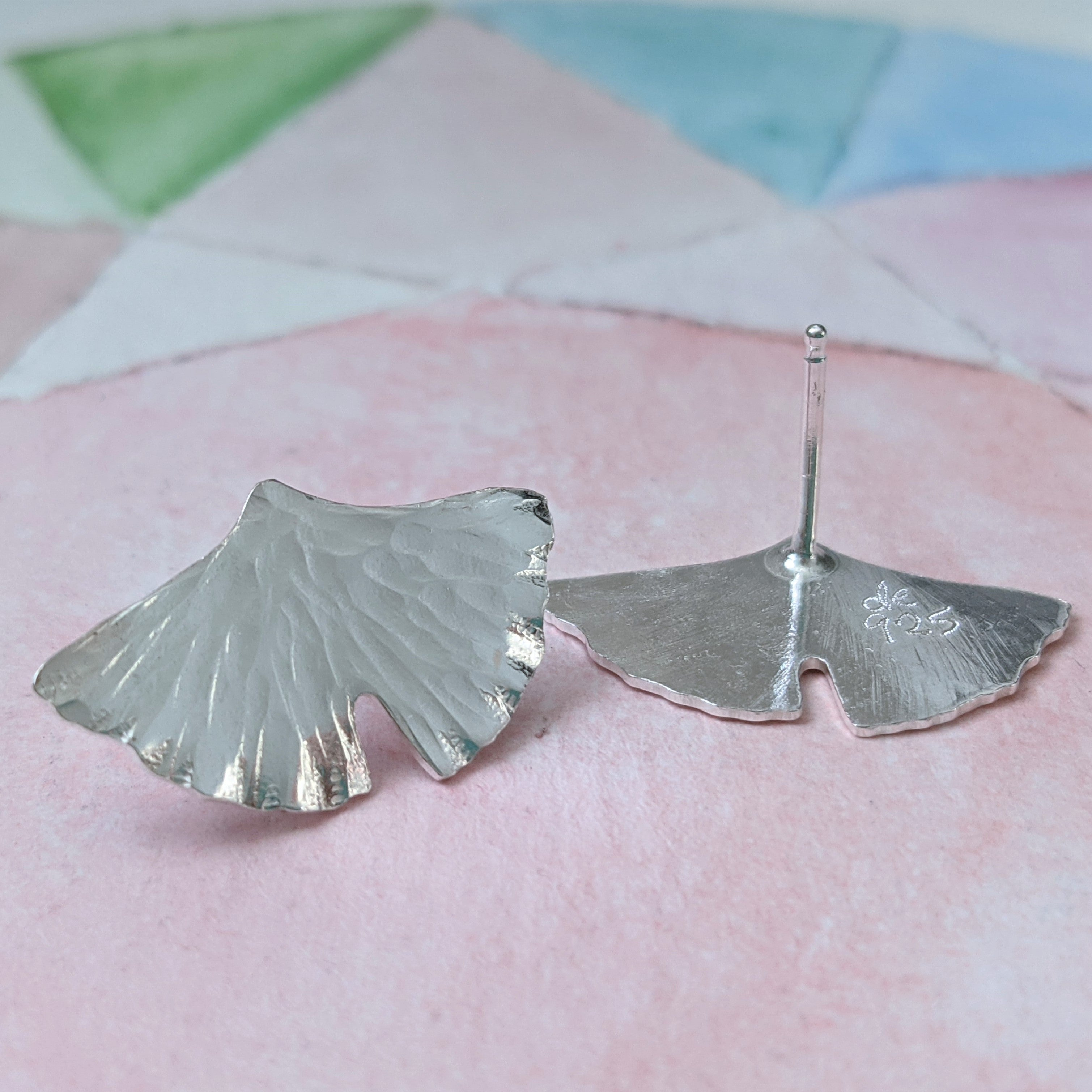Ginkgo Leaf Post Earrings in Sterling Silver