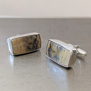 Schalenblende and Galena Cufflinks in Sterling Silver - One of a Kind